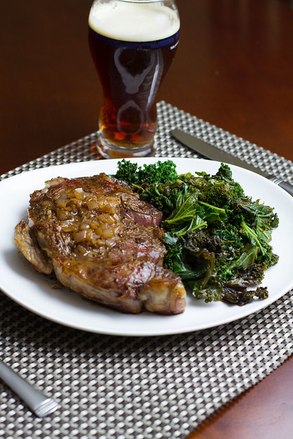 Pan Seared Ribeye with Shallot Sauce