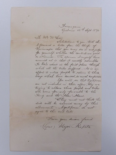 """<p>On July 25 1870 Wairarapa chief Tikawenga wrote a letter on behalf of the chiefs of the lower North Island to other North Island chiefs requesting that Māori not kill each other in wars which were to their detriment. He requested that Māori unite in order to derive some advantage from the struggle they faced in colonial wars. Tikawenga Te Tau was a leading chief of Ngai Tumapuhiarangi. In 1860 Tikawenga initiated a major peace expedition to the trouble spots of Taranaki, Waikato and Hawke's Bay.<br /> <br /> The letter (in Māori with English translation provided <a href=""""https://www.flickr.com/photos/archivesnz/28161941420/in/dateposted/"""">www.flickr.com/photos/archivesnz/28161941420/in/dateposted/</a>) was sent to Major Wahawaha Ropata. Ropata (of Ngāti Porou descent) was one of the leading Kūpapa, a Māori who was loyal to the British Monarchy and fought alongside the British in the New Zealand Wars. The letter from Tikawenga was forwarded to Donald McLean, Agent for the General Government - Hawke's Bay, who coordinated civil and military action in the area during the New Zealand Wars. <br /> <br /> Ropata rejected the offer from Tikawenga and stated that Ngāti Porou would not agree to this evil talk. <br /> <br /> Reference:<br /> ACFK 8163 AGG-HB1 4/5 (R16640167)<br /> <br /> To enquire about this record, please email research.archives@dia.govt.nz   <br /> <br /> For updates on our On This Day series and news from Archives New Zealand, follow us on Twitter <a href=""""http://www.twitter.com/ArchivesNZ"""" rel=""""nofollow"""">www.twitter.com/ArchivesNZ</a>  <br /> <br /> Material from Archives New Zealand</p>"""