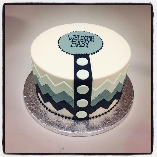Chevron pattern baby shower cake flickr photo sharing