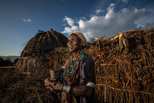 portrait of a old woman of the tribe Erbore at sunset by anthony pappone photographer