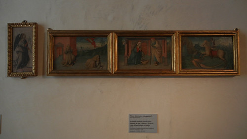 DSCN3779 _ Arcangelo Gabriele annunciante Stigmate di San Francesco, Natività, Lotta di San Giorgio col drago, Pittore ferrarese o romagnolo (q)