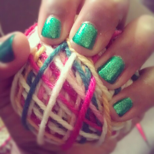 @chinaglazeofficial in Running in Circles is quite festive. Lots of green goodness. #manicure #green