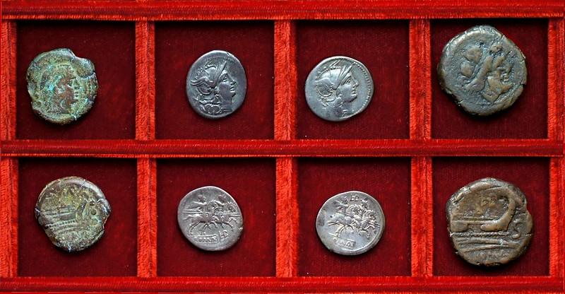 RRC 133 TAMP Baebia quadrans, RRC 134 LPLH Plautia denarii, semis, Ahala collection, coins of the Roman Republic