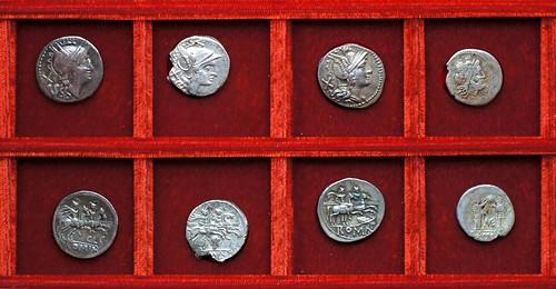RRC 125 QLC Lutatia, RRC 127 female head Horatia, RRC 128 shield and carnyx Decia, RRC 132 ME Caecilia victoriatus, Ahala collection, coins of the Roman Republic