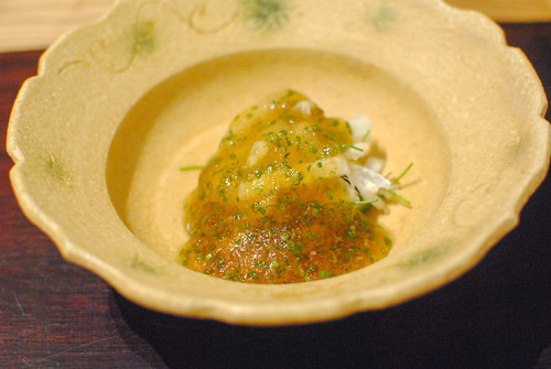 Blowfish, Chinese Cabbage and Leek with Chili Sauce