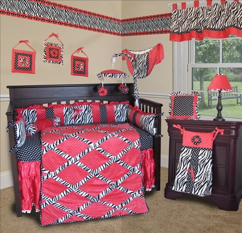 Custom Animal Print Baby Bedding -Hot Pink Zebra