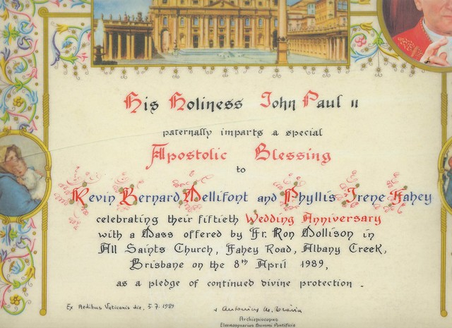 Papal Blessing Nand And Grandfather 50th Anniversary Cert 001