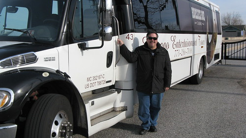 Eddie K posing by an International limosuine conversion bus owned by the Horseshoe Casino.  Hammond Indiana.  Sunday, November 25th, 2012. by Eddie from Chicago