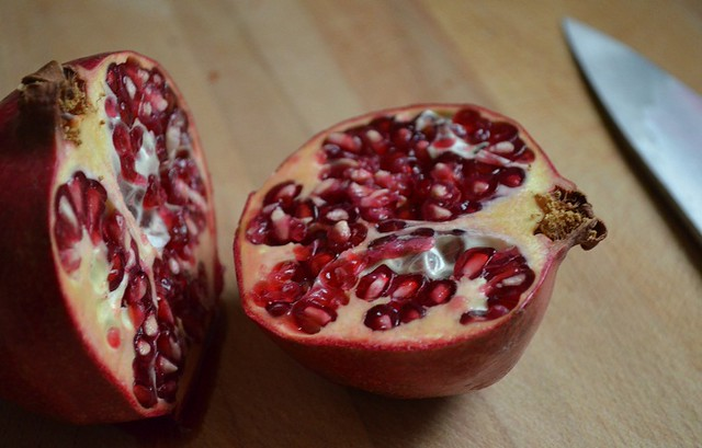 cut pomegranates in half