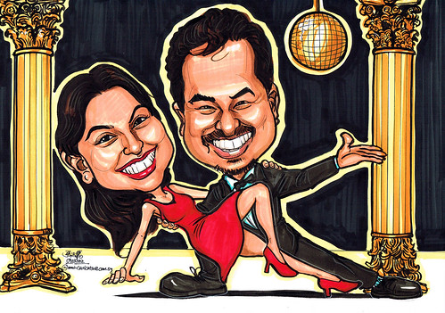 Dancing couple caricatures