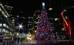 Christmas tree at Jack Poole Plaza