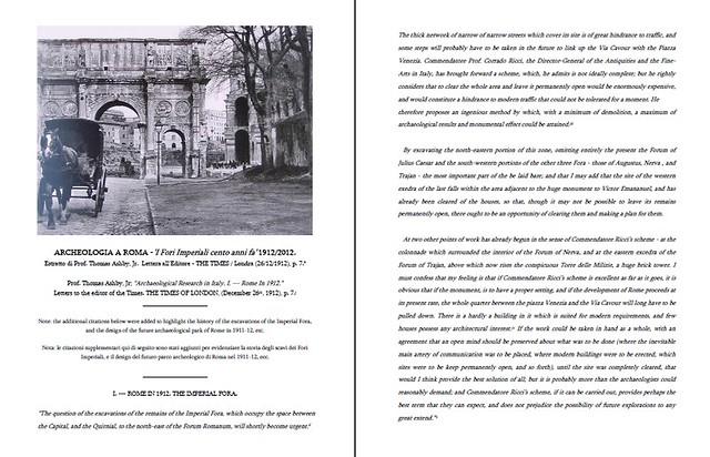 ARCHEOLOGIA A ROMA -'I Fori Imperiali cento anni fa' 1912/2012. Estratto di Prof. Thomas Ashby, Jr.  Lettera all'Editore - THE TIMES / Londra (26/12/1912), p. 7.* [PDF, pp. 1-4].