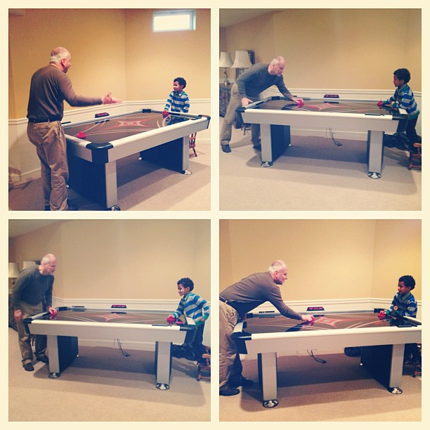 Tyson found his air hockey soulmate in his birth grandpa. So much intensity, trash talking ...and just a little bit of cheating. ;) #ukranianroots #openadoption #adoption