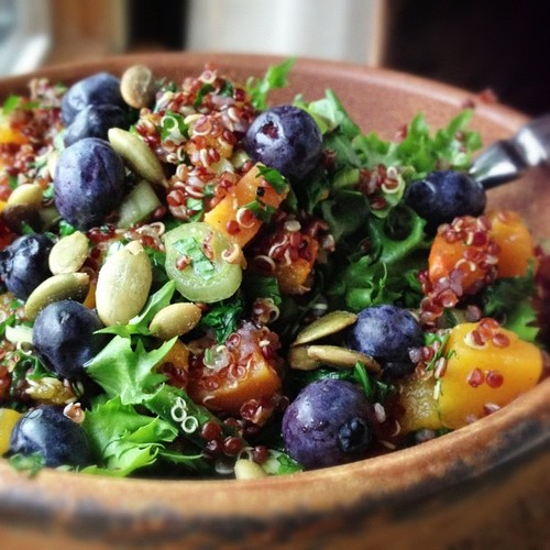 How Monica got her vegan breakfast salad groove back: red quinoa, butternut squash, kale, spring onion, blueberries, parsley, jalapeño, toasted pepitas.