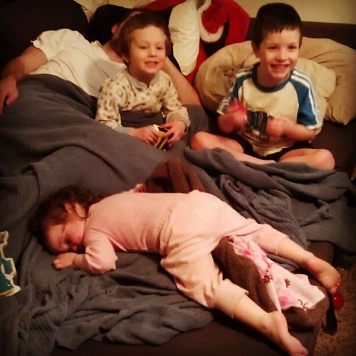 Letting them stay up late for the last night in 2012! 2 out of the 4 are already asleep. #wearenotthatexciting :)