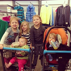 Just a quiet time at old navy w @lilydenver 's kids ;)