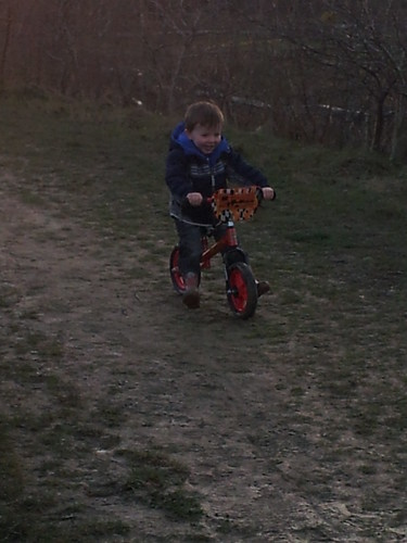 Isaac on his bike