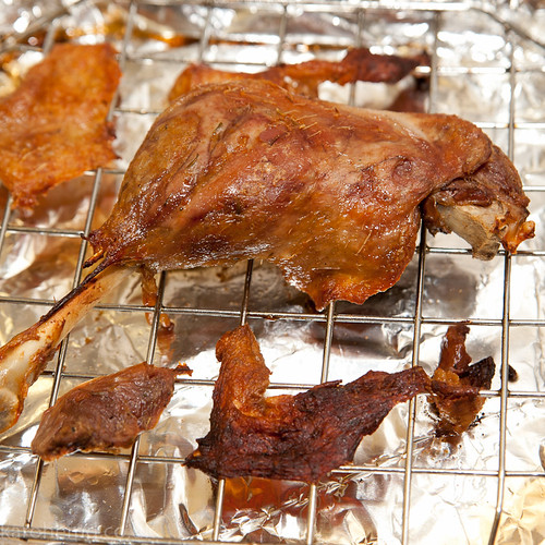 Confit duck leg and scratchings
