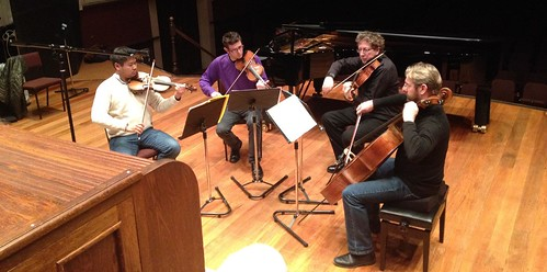 String quartet in action at the 2012 Nelson Composers Workshop
