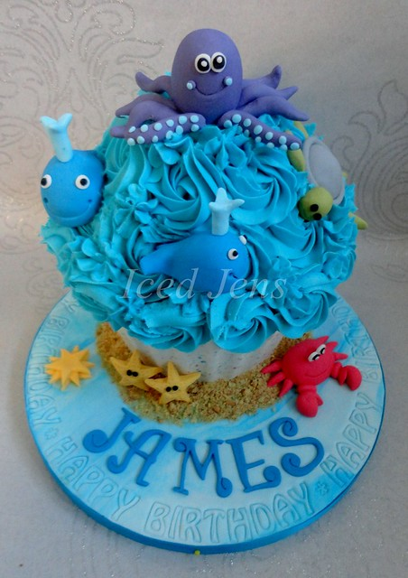 Cake Images Sagar : Under The Sea Giant Cupcake I made this cake for James ...