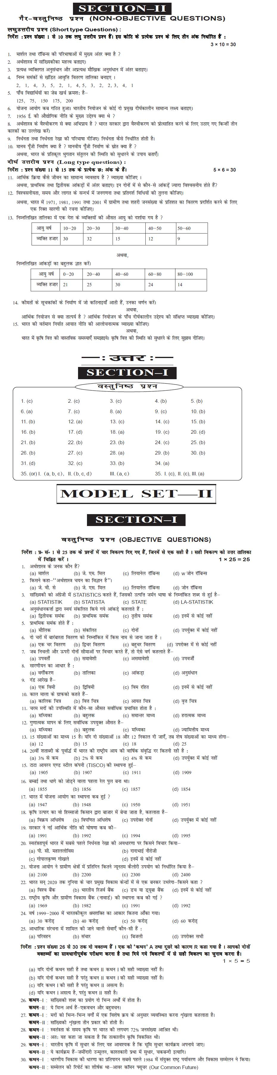 Bihar Board Class XI Arts Model Question Papers - Economics