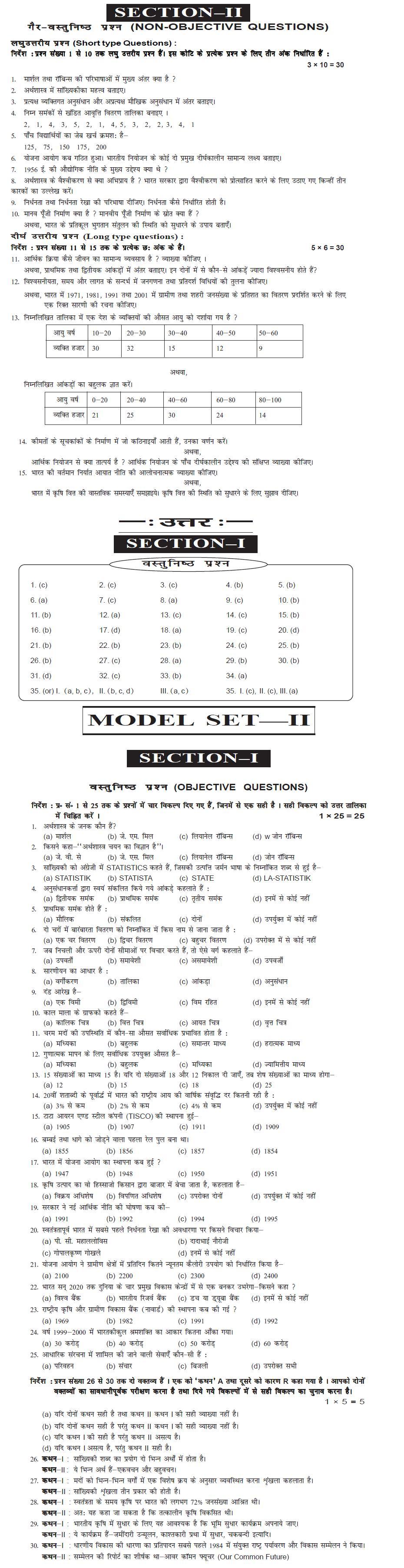 Bihar Board Class XI Arts Model Question Papers - Economics