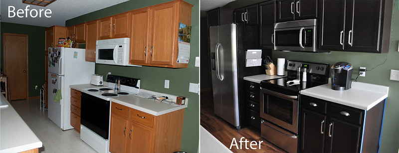gel stain kitchen cabinets.  Kitchen before and after gel staining of cabinets