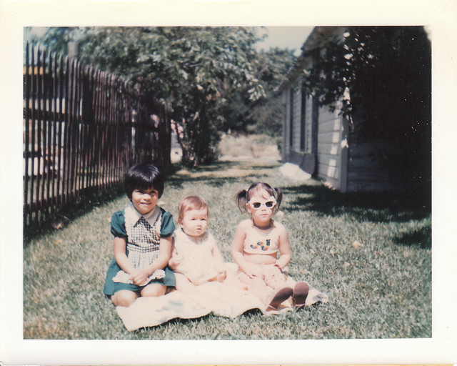 Debra, Roxy, and Yvette behind grandma's house 6.3.75