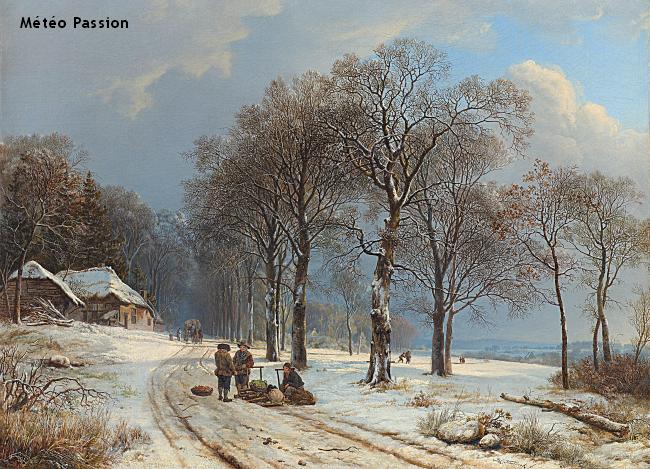 paysage recouvert d'une mince couche de neige lors de la vague de froid de janvier 1838 météopassion