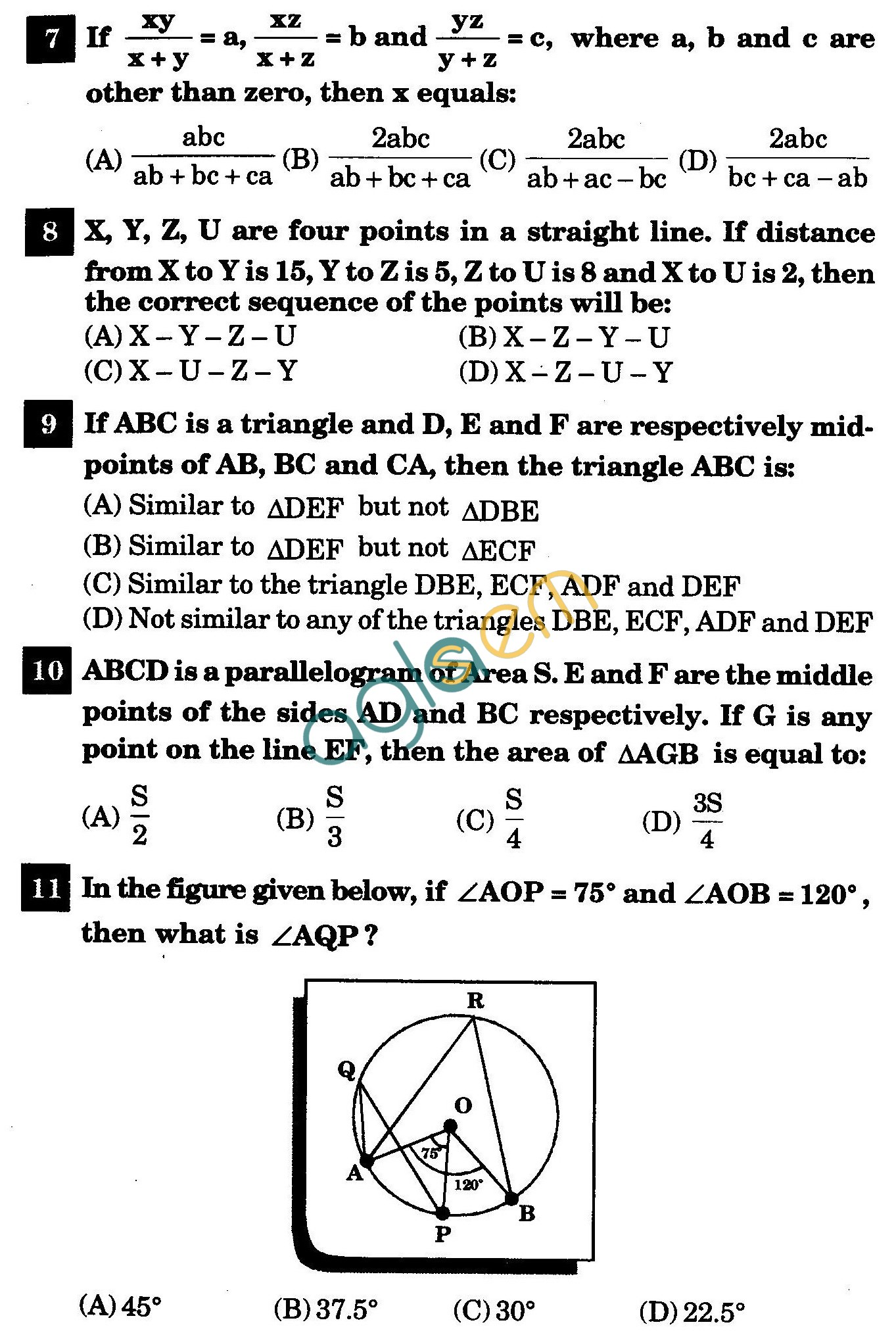 NSTSE 2011 Class IX Question Paper with Answers - Mathematics