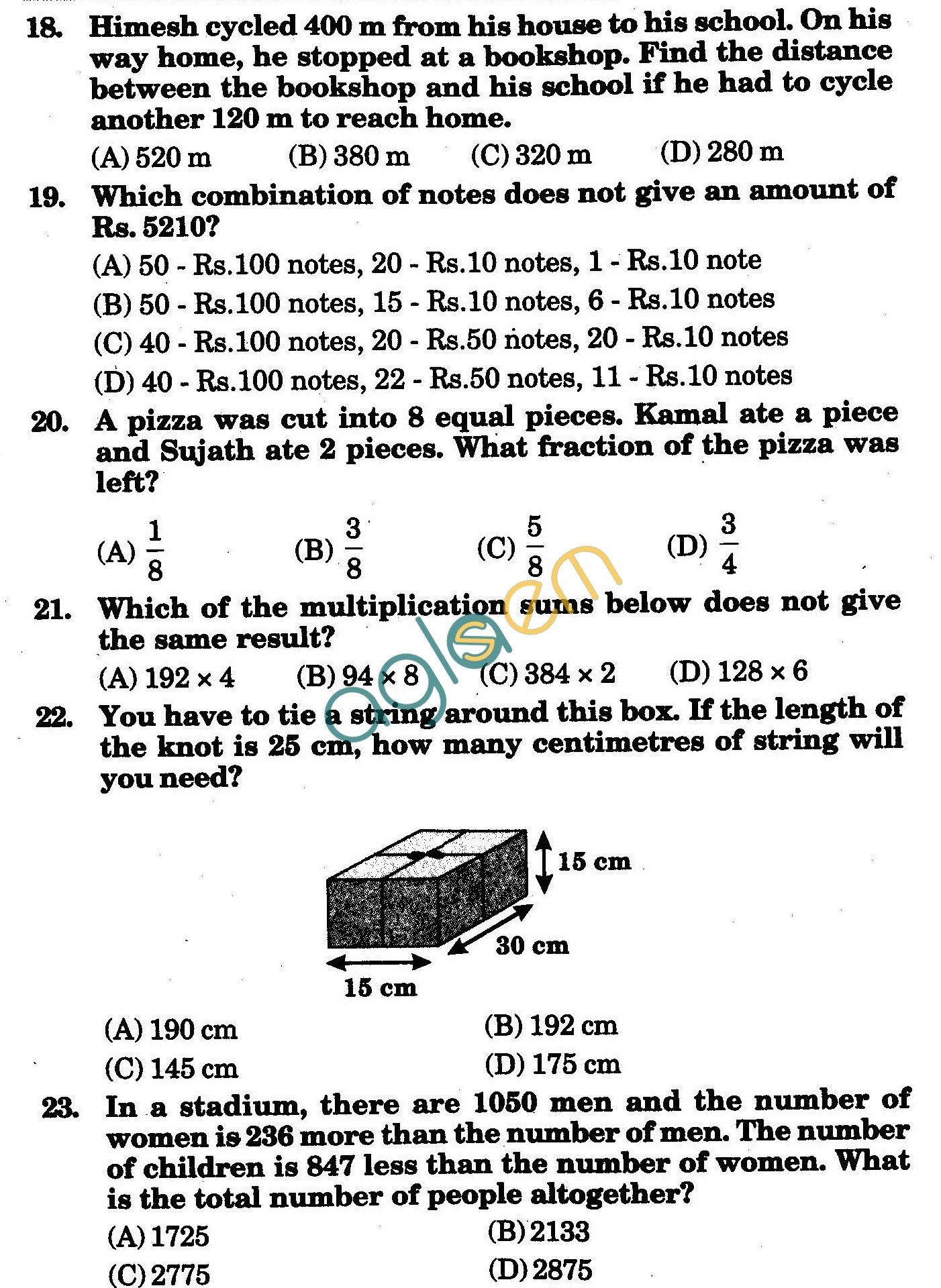 NSTSE 2010 Class IV Question Paper with Answers - Mathematics