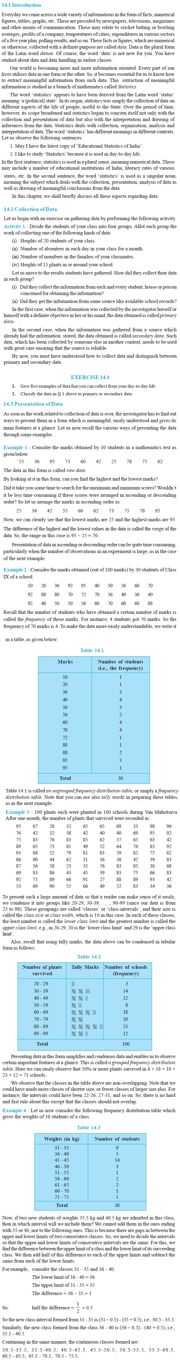 NCERT Class IX Maths Chapter 14 Statistics