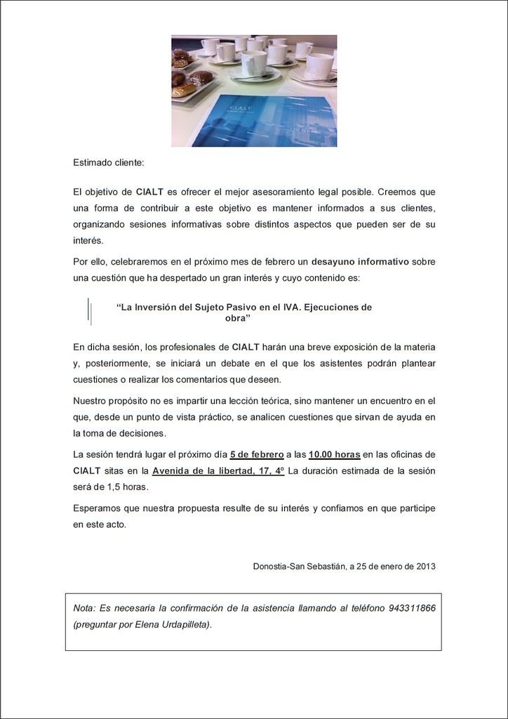 """Información sobre el desayuno CIALT sobre """"La inversión del sujeto pasivo en IVA. Ejecuciones de obra"""""""