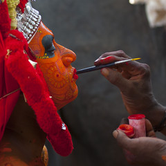 Theyyam Artist Having Make Up Applied On His Face, Thalassery, India