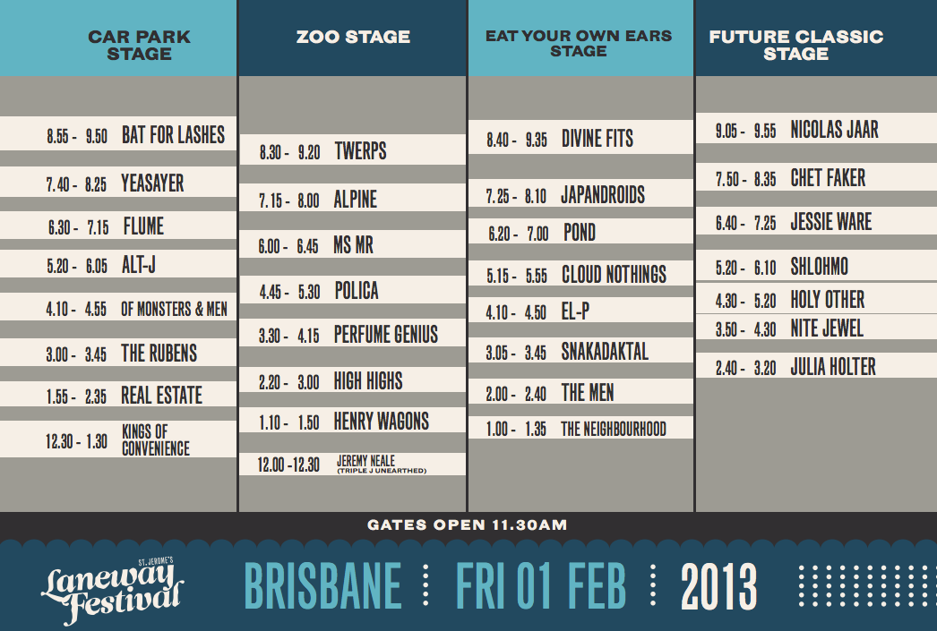 2013 Laneway Festival performer schedule