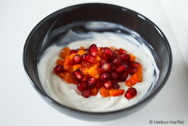 pomegranate persimmon with honeyed yoghurt