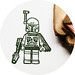 Lego Boba Fett Hand Carved Rubber Stamp