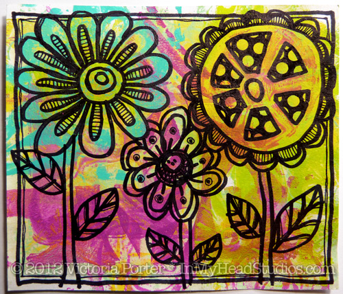Flower Doodles on Gelli Print