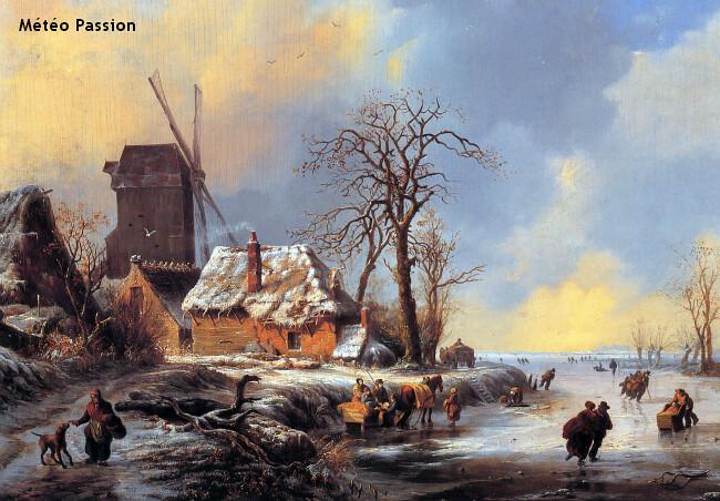 patineurs sur les canaux gelés de Hollande lors de la vague de froid de janvier 1838 météopassion