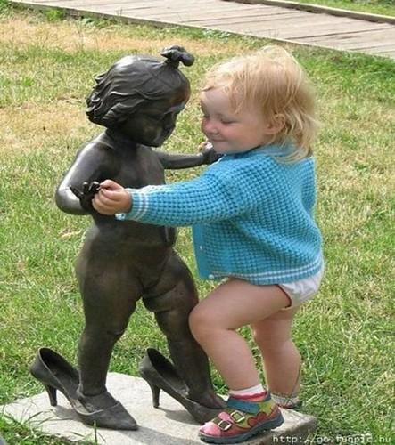dancing baby statue