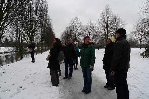 Mit FritzDeutschland bei Schnee an der Nidda. Januar 2013