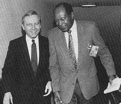 Governor Pete Wilson and Los Angeles Mayor Tom Bradley at Los Angeles Metro subway opening day, January 29, 1993