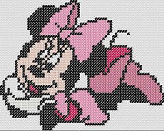 Pink Miss Minnie Mouse cross stitch