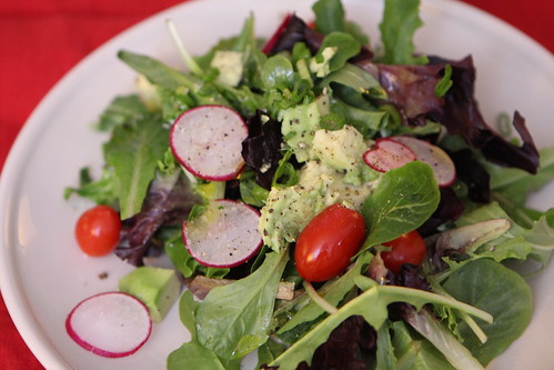 Salad with Radish, Avocado, and Tomato