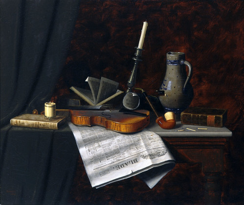 William Michael Harnett 'Still Life with the Toledo Blade' 1886 by Plum leaves