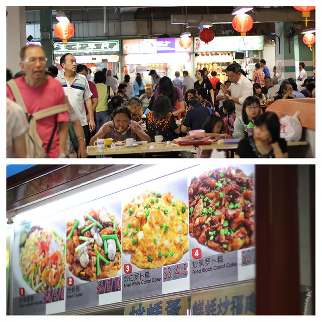A layout of two pictures featuring a busy hawker centre scene on the top, and brilliantly lit fluorescent signs of the food these stalls offer.