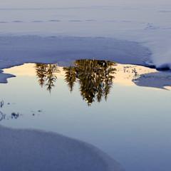 as the sun makes ice melt