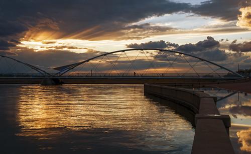 bridge sunset arizona water clouds photoshop reflections nikon day cloudy january az storms hdr tempe onone tempetownlake photomatix 2013 d700