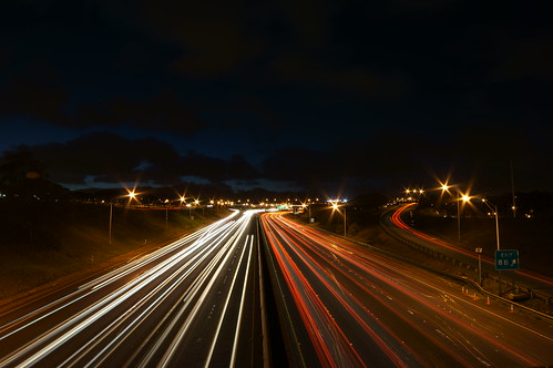 H1 H2 merge freeway traffic light trails