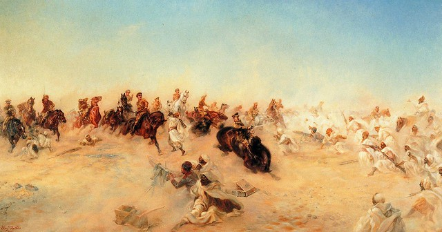 9. Lady Butler's painting of the charge of the Dorset Yeomanry.